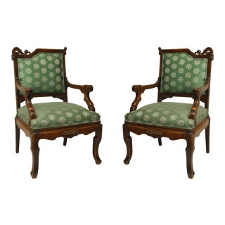 Pair of Viotdot English Regency Chinoiserie Mahogany Green Upholstered Armchairs For Sale