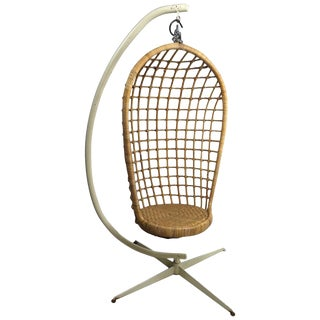 Hanging Wicker Pod Chair With Original Metal Stand For Sale
