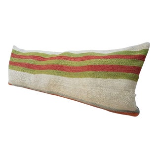 """Vintage Striped Bedding Kilim Pillow Cover 14"""" X 40"""" For Sale"""