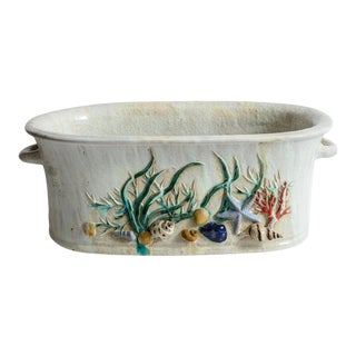 Italian Large Terra Cotta Planter/Tub With Handles, Shell & Bird Decor.20th C. For Sale