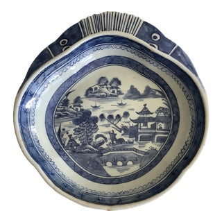 Antique Chinese Export Canton Shrimp Dish For Sale