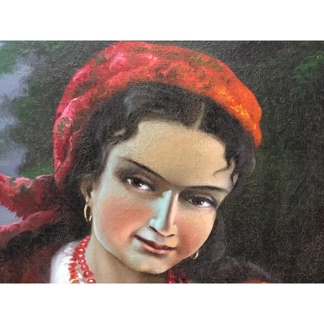 Vintage Gypsy Woman Oil Painting - Image 10 of 10