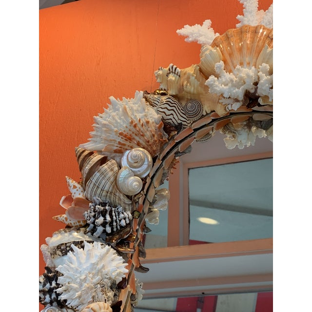 White Oval Seashell Encrusted Wall Mirror For Sale - Image 8 of 10
