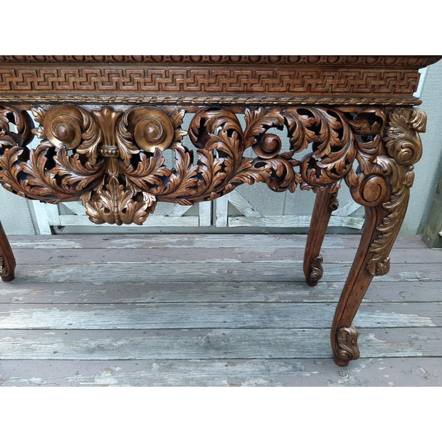 Vintage Theodore Alexander Althorp Carved Wood Gilded Console Table For Sale - Image 10 of 13