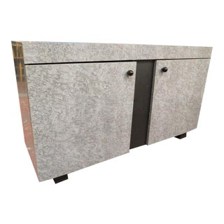 1980s Vintage Gray Faux Marble Laminate 2 Door Cabinet For Sale