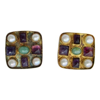 Byzantantine Style Gilt Jeweled Moasic Earrings For Sale