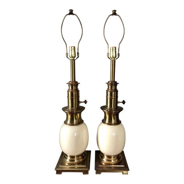 Vintage Stiffel Ostrich Egg Table Lamps- a Pair For Sale