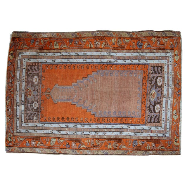1940s Hand Made Antique Turkish Anatolian Prayer Rug - 3′3″ × 4′7″ For Sale - Image 10 of 10
