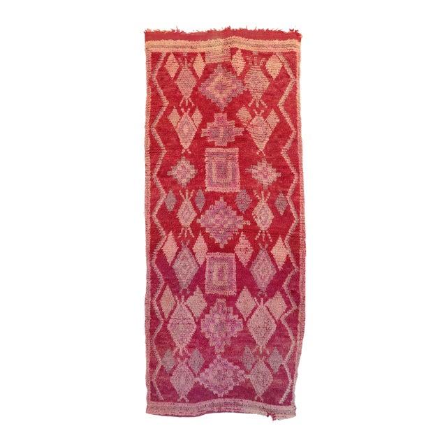 "Vintage Boujad Moroccan Rug - 3'7"" x 8'6"" - Image 1 of 4"