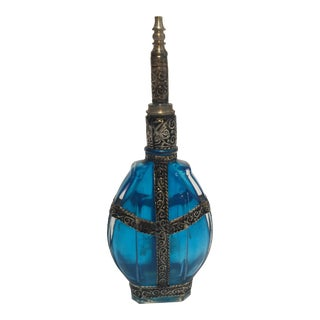 Moroccan Blue Glass Perfume Bottle With Metal Overlay For Sale
