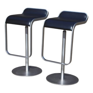 LaPalma Lem Adjustable Bar Counter Stools Stainless Steel Black Italy-A Pair For Sale