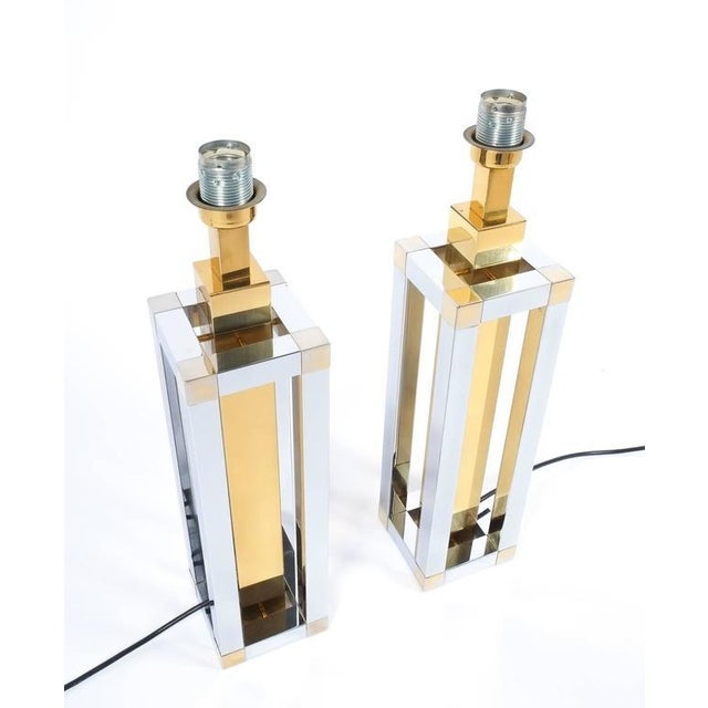 Romeo Rega Pair of Chrome and Brass Table Lamps by Romeo Rega For Sale - Image 4 of 10