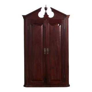 19th Century English Georgian Mahogany Hanging Corner Cabinet Cupboard