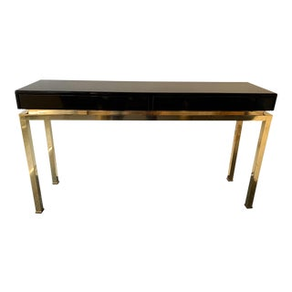 Lacquered and Brass Console by Guy Lefevre. France, 1970s For Sale