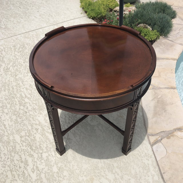 Auburn 1950s Arts and Crafts Baker Furniture Round Chippendale Style Side Table For Sale - Image 8 of 13