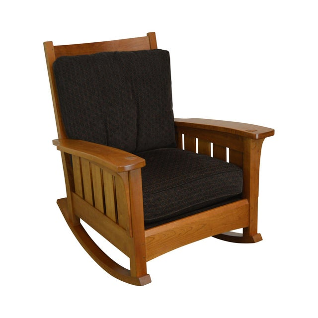 Stickley Mission Collection Solid Cherry Rocker For Sale - Image 13 of 13