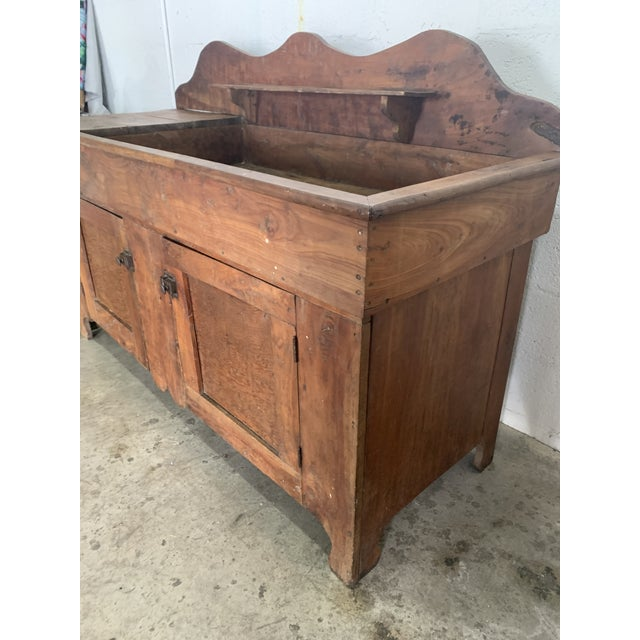 Brown Antique Rustic Farmhouse Dry Sink For Sale - Image 8 of 9