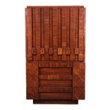 Image of Paul Evans Style Mid-Century Modern Brutalist Walnut Armoire Dresser by Lane For Sale