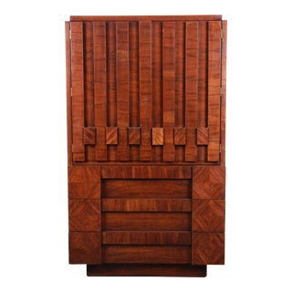 Paul Evans Style Mid-Century Modern Brutalist Walnut Armoire Dresser by Lane For Sale