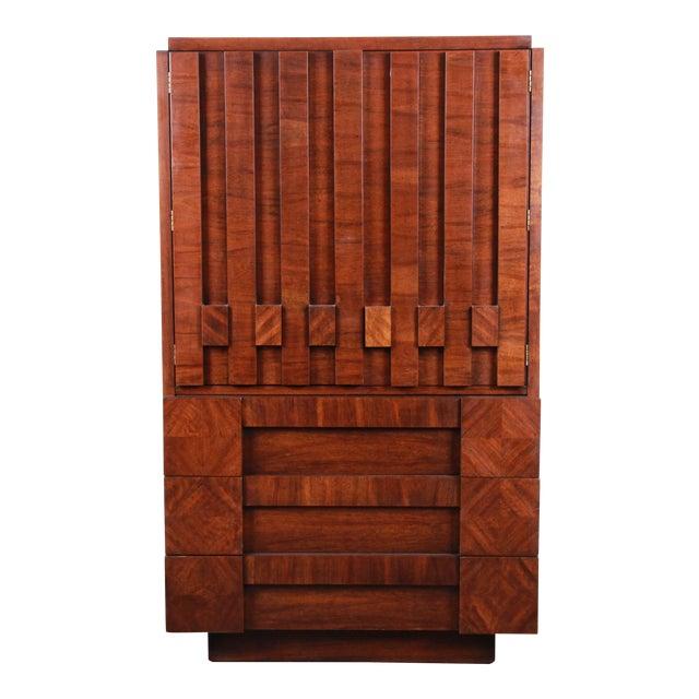 Paul Evans Style Mid-Century Modern Brutalist Walnut Armoire Dresser by Lane For Sale