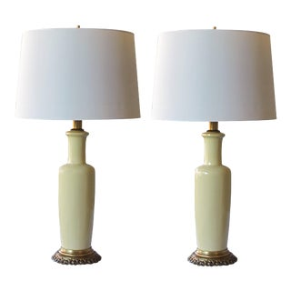 1960s Chartreuse Glaze Ceramic Lamps by Frederick Cooper - a Pair For Sale