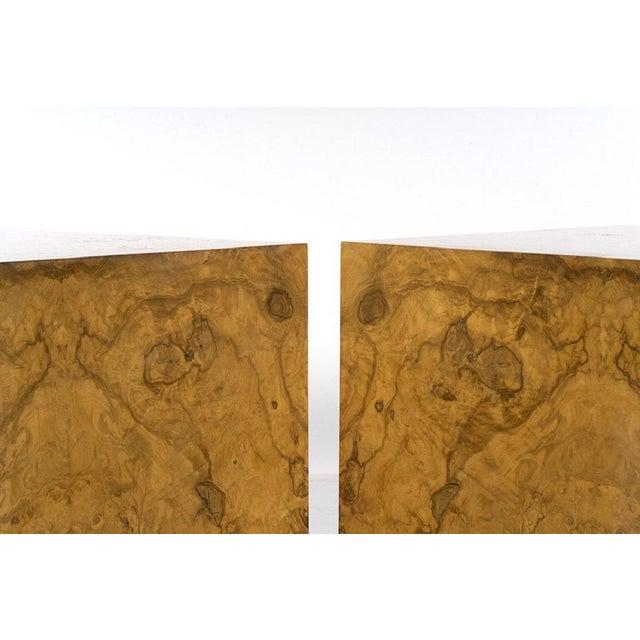 Milo Baughman Pair Milo Baughman Burl Wood Cube Side Tables For Sale - Image 4 of 5