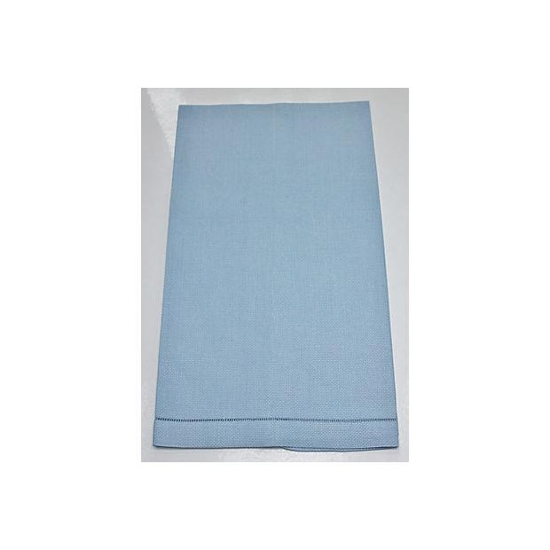 This is a large blue linen hand towel edged in drawn work on the two horizontal ends. The condition is perfect. This...