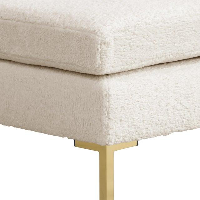 Boho Chic Pillowtop Ottoman, Sheepskin For Sale - Image 3 of 5