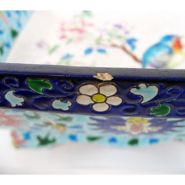 Blue Longwy Ceramic Jardiniere For Sale - Image 8 of 11
