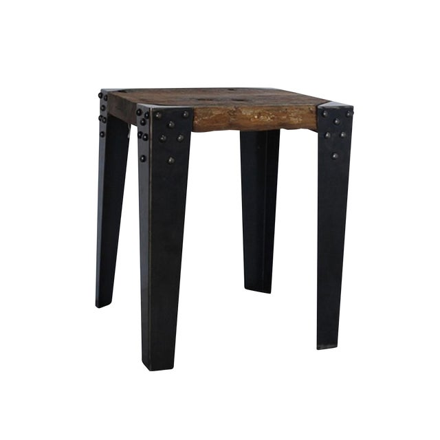 Reclaimed Teak & Iron Side Table - Image 1 of 2