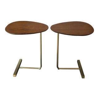 Brass and Wood C Tables - a Pair For Sale