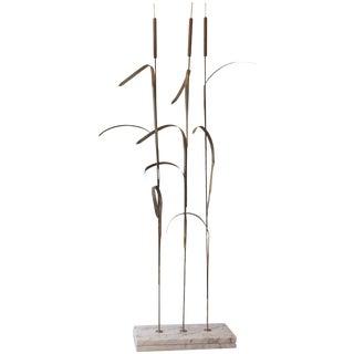 Superlative Very Tall Metal Wheat Motif Sculpture For Sale