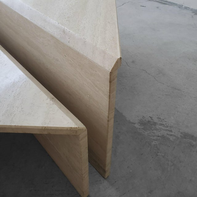Stone 2 Piece Tiered Post-Modern Italian Travertine Coffee Table For Sale - Image 7 of 8