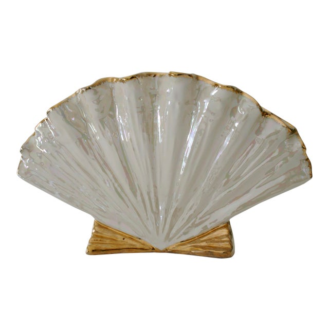 Pearlescent Ivory and Gold Shell Shaped Vase For Sale
