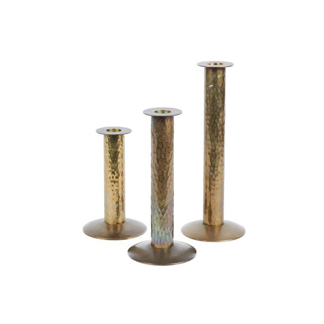 1970s Hammered Brass Candlesticks - Set of 3 For Sale - Image 4 of 4