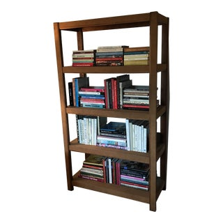 Custom Made Tall Parsons Style Rectangular Bookcase For Sale