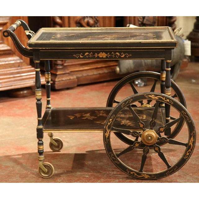 Early 20th Century French Chinoiserie Hand Painted Bar Cart For Sale - Image 5 of 10