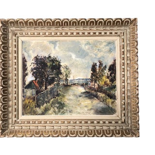 Original 1930's Painting by LaPaglia Nantucket Impressionist Village Seaport Scene For Sale