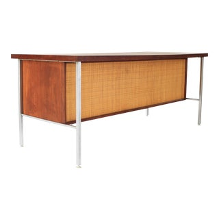 1950s Mid Century Modern Florence Knoll Style Walnut and Cane Desk For Sale