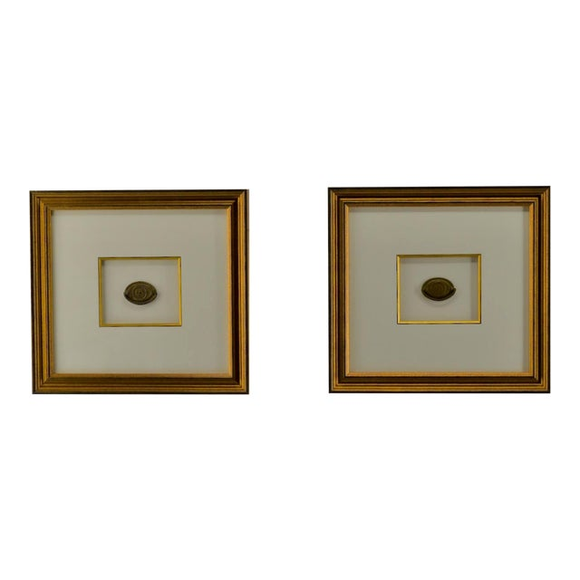 Federal Eagle Drawer Pulls, Set of 2, Framed, Antique For Sale