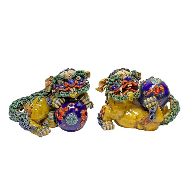 Vintage Ceramic Foo Dogs - A Pair - Image 1 of 5