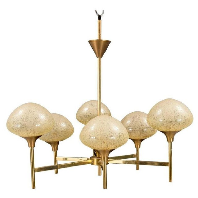 1970s Brass & Glass Chandelier, 1970s For Sale - Image 5 of 5