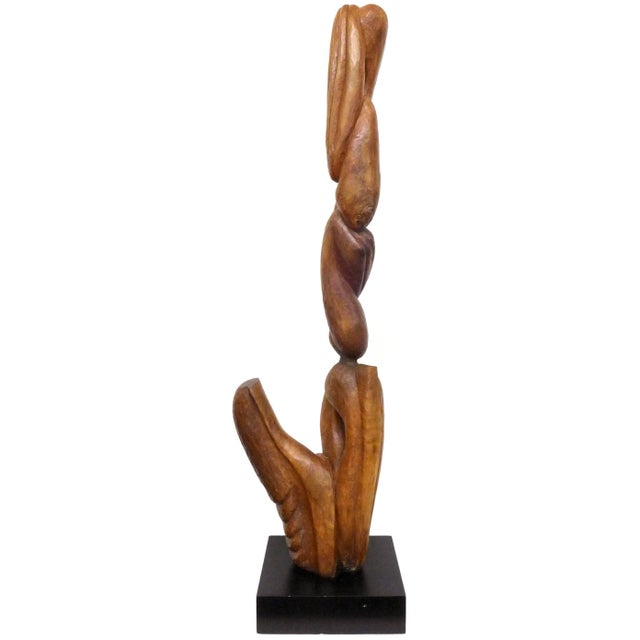 Brown Biomorphic Carved-Wood Sculpture For Sale - Image 8 of 8