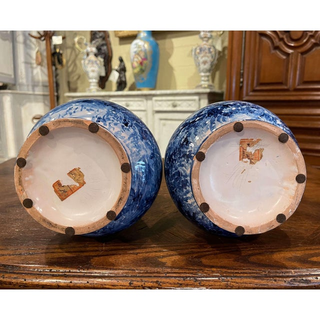 Pair of 19th Century French Delft Style Faience Vases With Blue and White Decor For Sale - Image 12 of 13