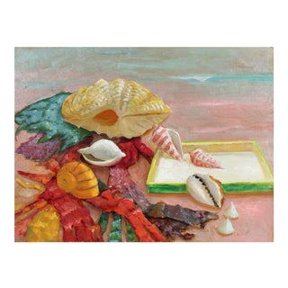 Still Life With Seashells Oil Painting on Masonite For Sale
