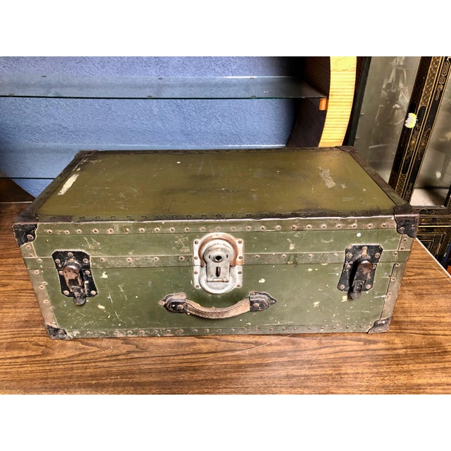 Industrial Vintage P & S Co. Military Footlocker With Contrasting Metal Hardware and Leather Handle For Sale - Image 3 of 12