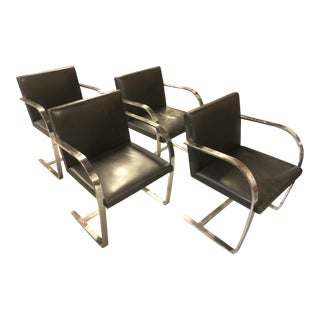 Vintage Flat Bar Brno Leather Chairs - Set of 4 For Sale