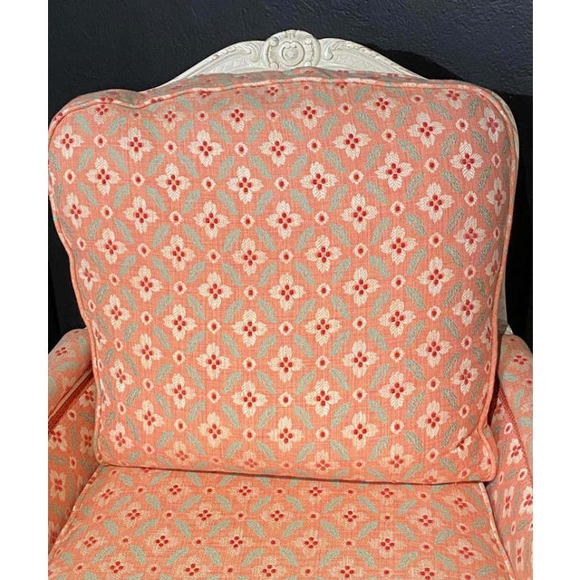 Peach Louis XVI Painted Bergère or Lounge Chairs, Scalamandre Upholstery - a Pair For Sale - Image 8 of 13