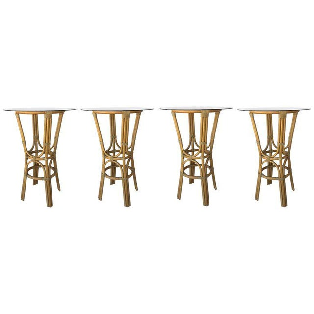 20th Century Set of Four High Round Cocktail Table in Faux Bamboo With Glass Top For Sale - Image 11 of 11