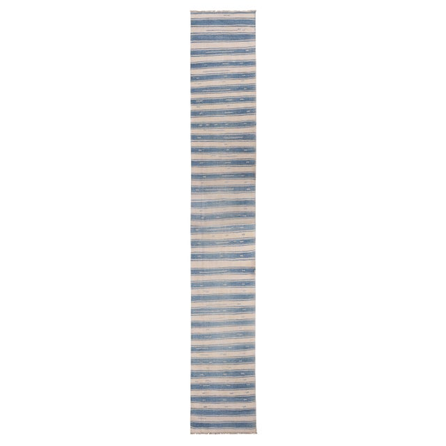 "Blue Vintage Malatya Geometric Blue Gray Wool Kilim Runner-2'5'x15'5"" For Sale - Image 8 of 8"